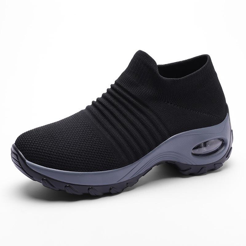Womens Flats Slip On Shoes for Women Sock Sneakers Platform 2019 Comfortable Soft Ladies Spring Buty Damskie Sepatu Wanita Black 1