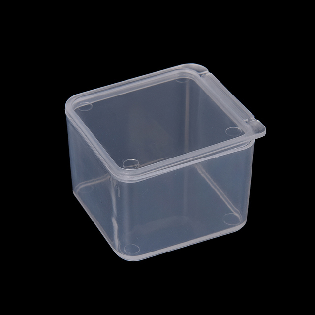 1 PCS Small Plastic Transparent With Lid Collection Container Case Storage  Box 4x4x2.8CM