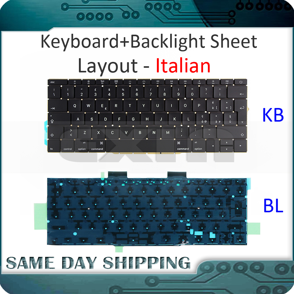 NEW for Macbook Pro Retina 13 A1708 Keyboard Italian Italy Ita. Keyboard+Backlight Backlit Replacement 2016 2017 Year image