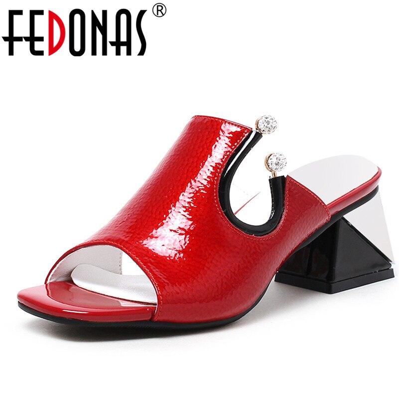 FEDONAS صنادل طراز جلاديتور للنساء جديد أزياء جلد طبيعي عالية الكعب أحذية امرأة فساتين راقية الزفاف أحذية الحفلات-في كعب عالي من أحذية على  مجموعة 1