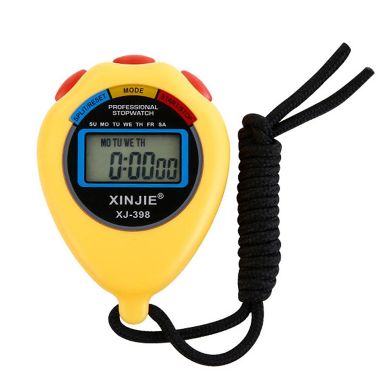 New Black/Yellow Stopwatch Timer LCD Digital Professional Chronograph Timer Counter Sports Kitchen Home Count down Tool
