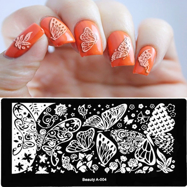 2017 New 612cm Stainless Steel Nail Art Stamping Plates Geometric