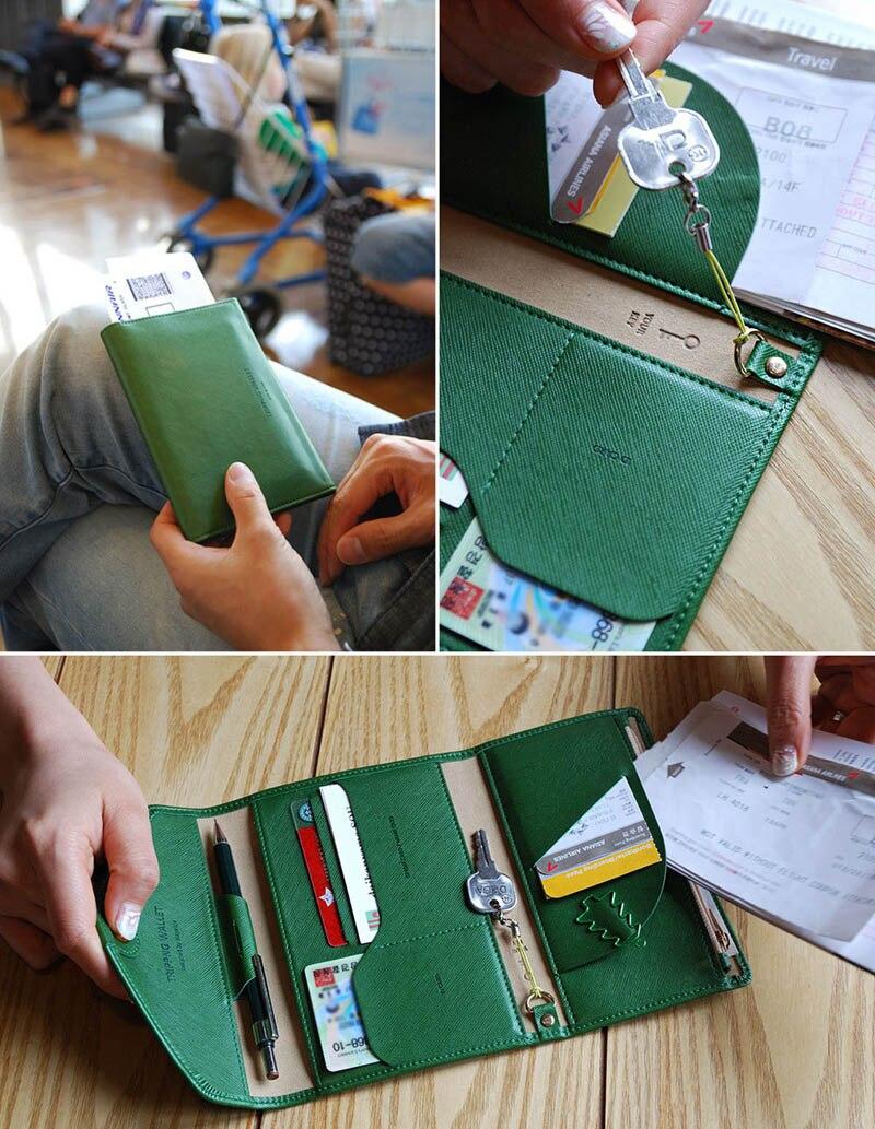Travel Passport Cover Foldable Credit Card Holder Money Wallet ID Multifunction Documents Flight Bit License Purse Bag PC0045 (5)