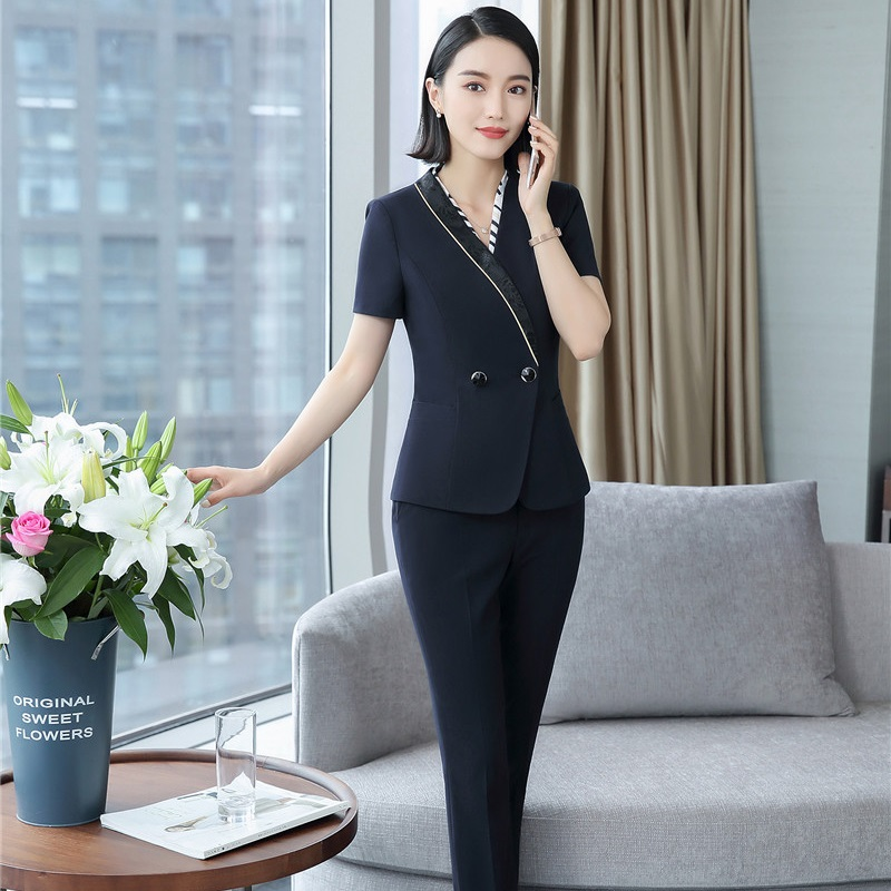 Forma Uniform Designs Pantsuits With 2 Pieces Tops And Pants Professional Office Business Work Wear Blazers Trousers Sets