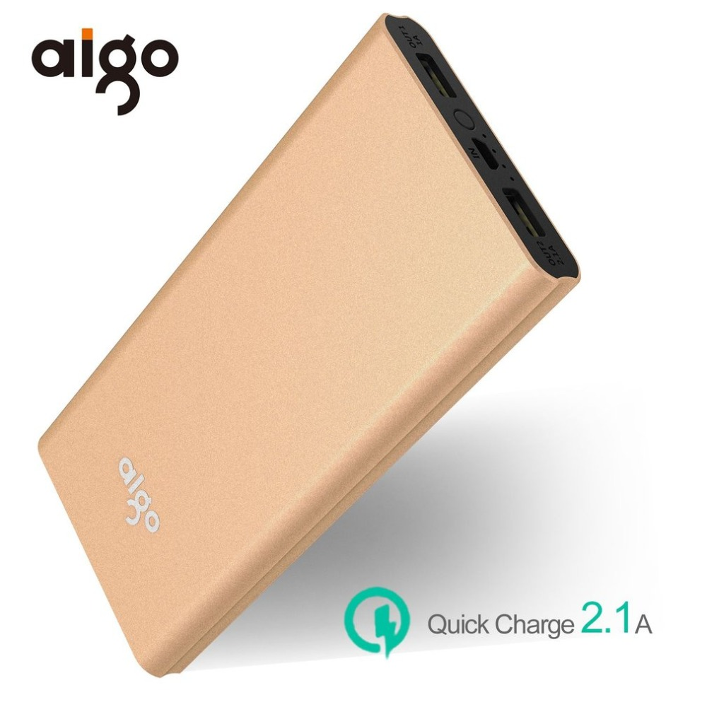 Aigo 10000mAh Powerbank for Xiaomi External Battery Ultra Slim Li-Polymer Power Bank Mobile Portable Poverbank for Iphone 7 8X