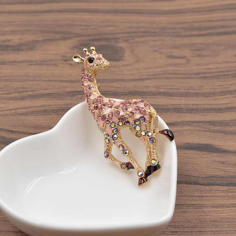 Cinkile Berlian Imitasi Vintage Giraffe Bros untuk Wanita Fashion Perhiasan Lucu Hewan Bros Pin 3 Warna Memilih Hadiah Tahun Baru