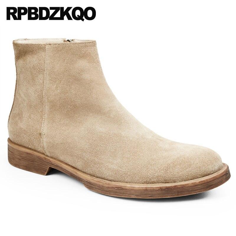 Calidad Botines Diseñador Otoño Zapatos Suede Cómodo Grano Top Vintage Corto Cuero Completo Cremallera Hombres khak Coffee De Genuino Botas Alta 4qB88P