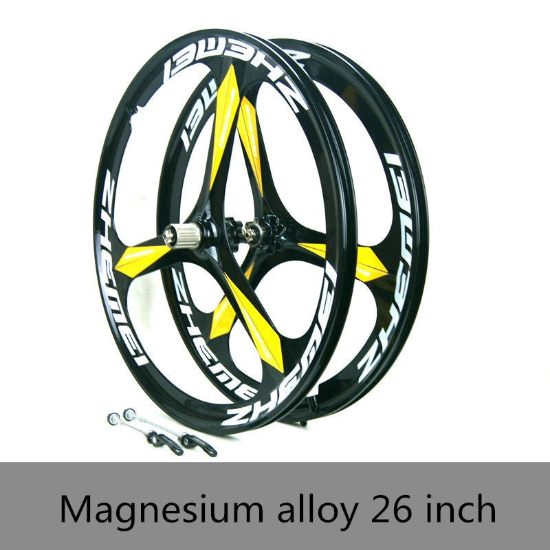 26 inch Magnesium Alloy one Integrated wheels Disc brake mountain Bike 3 spoked cassette or rotating flywheel 8/9/10 speed 26 32 holes disc brake mountain bike wheel alloy cassette ball hubs wheel suitable for 7 8 9 speed mountain bike accessories