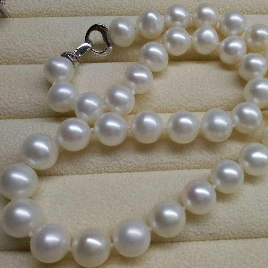 925 серебряные натуральным Большой 11 12 мм почти круглые, в основном без большой жемчужное ожерелье, передаваемый упаковочной коробки, серебр