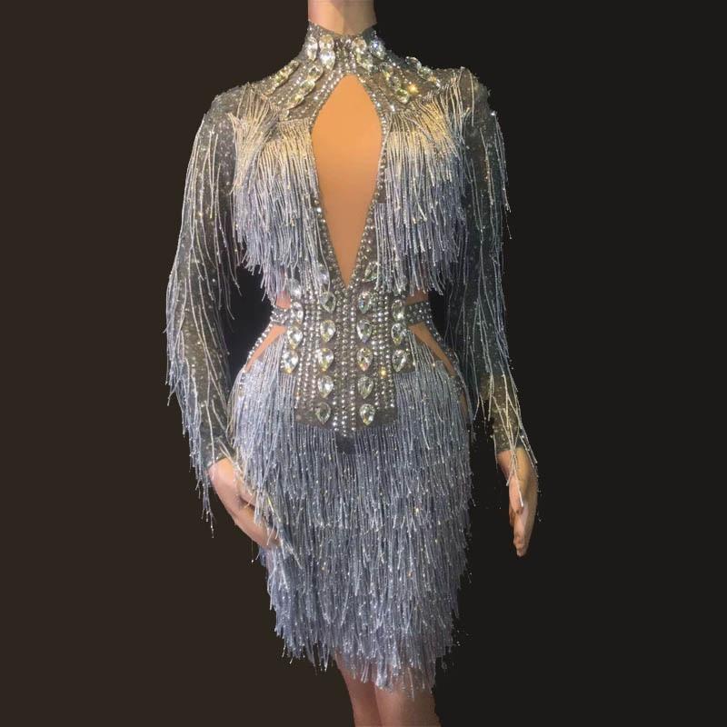 Sexy Tassels Crystals Jumpsuit Female Singer Dancer Legging Costume Big Stretch Bodysuit Nightclub Dance Outfit Dress Party Wear