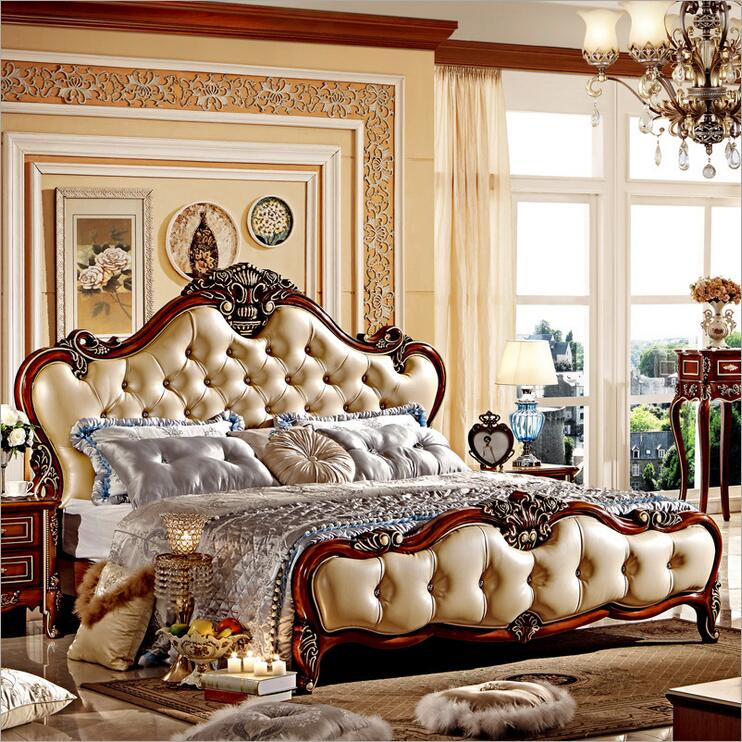 modern european solid wood bed Fashion Carved  1.8 m bed  french bedroom furniture 96325