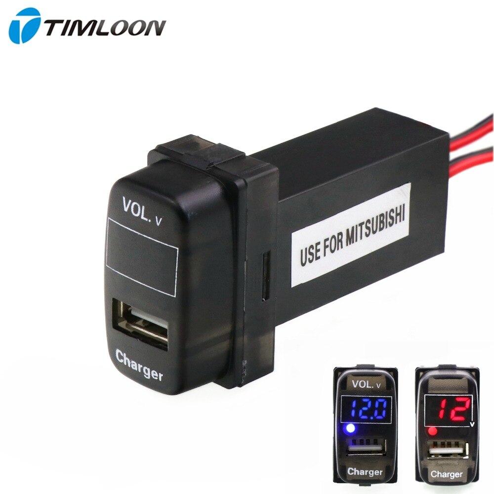 imágenes para 5 V Interfaz USB 2.1A Cargador de Coche Enchufe y Voltaje Meter Battery Monitor Uso de Mitsubishi, ASX, Lancer, Outlander, Pajero