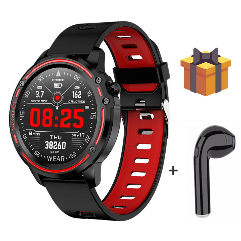 L8+Free Gift/set IP68 Waterproof Women Men Heart Rate Smart Watch 1.22 Round Screen Call Remind Smartwatch For Xiaomi Huawei IOS