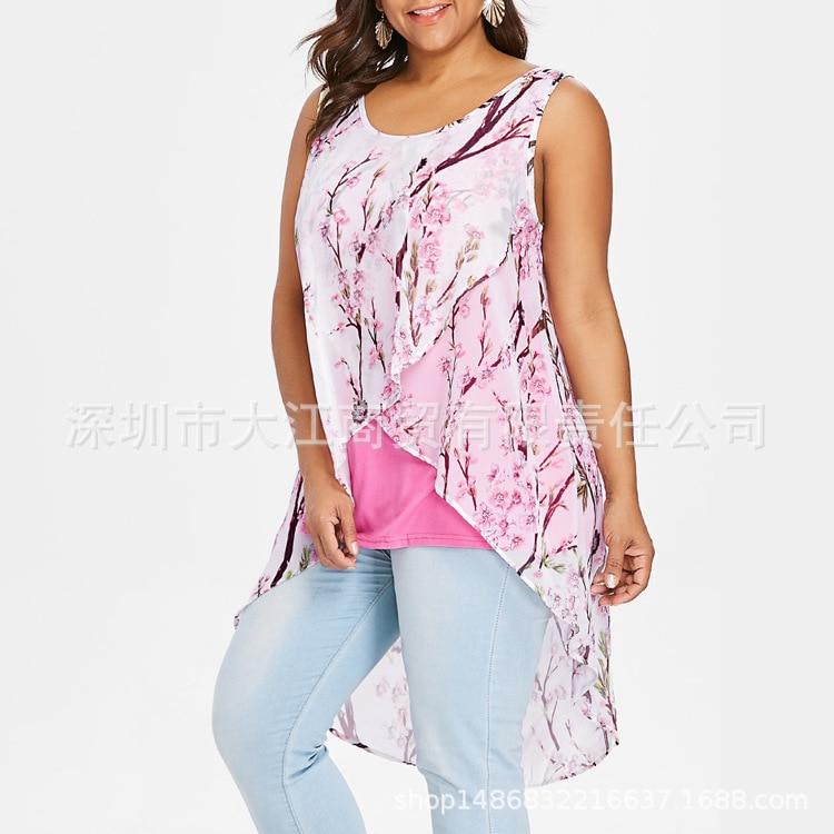 Tamaño Chaleco azul púrpura 5xl Verano rosado Grande blanco Impresión Bachash Negro De Gasa Corto Más Las La Nuevo Mujeres Superior RxOwq54