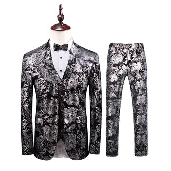 8e623886847ba (3 шт. комплект: куртка + жилет + брюки) дизайн мужские стильные черные и  серебряные костюмы сценический для певца свадебный смокинг жениха ко.