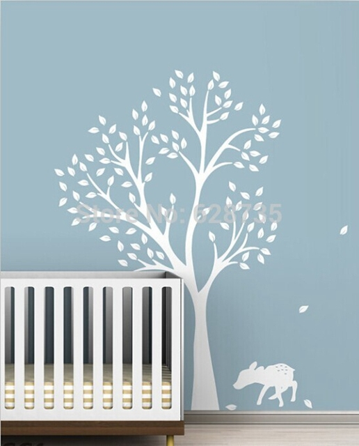 Large Size 198 x141cm Tree and Lovely Deer Vinyl Wall Sticker Baby/Kids Room Wall Art Decals Decoration