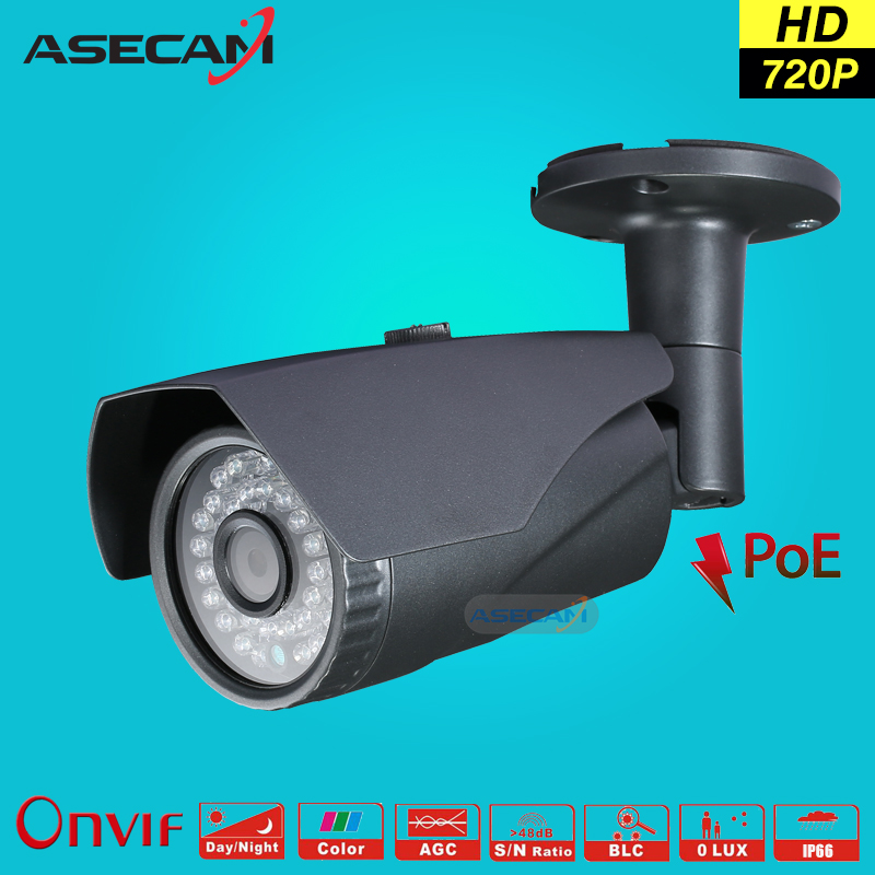 Asecam HD 720P CCTV Infrared 48V POE IP Camera gray Bullet Metal Waterproof Outdoor Onvif WebCam Security Surveillance p2p wistino cctv camera metal housing outdoor use waterproof bullet casing for ip camera hot sale white color cover case