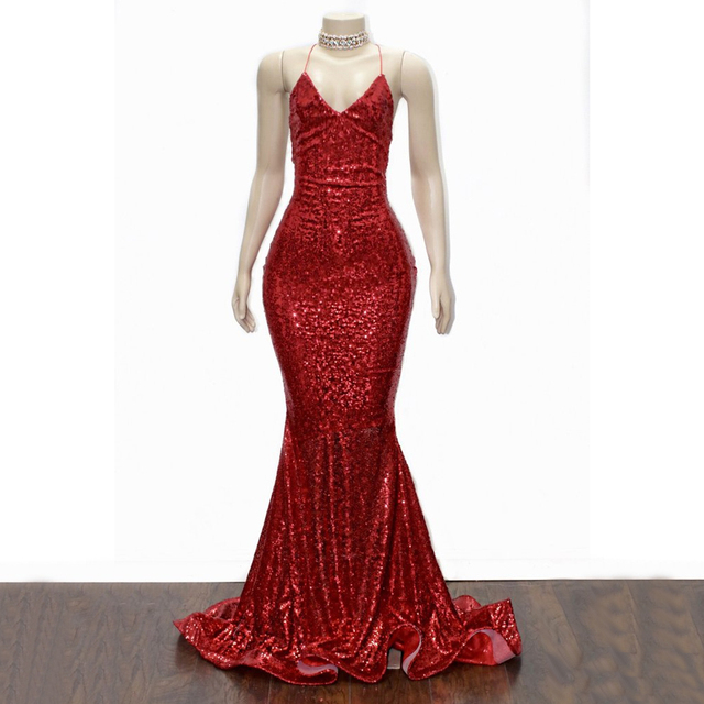 eff5b513198 Sparkly Burgundy Sequin Mermaid Evening Dress 2019 Sexy Backless Halter  Little Train Formal Prom Gowns Custom Made Women Dresses