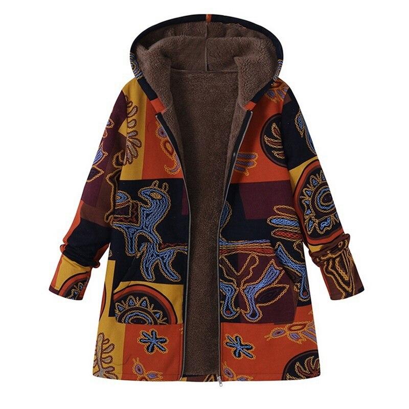 MoneRffi 2018 Plus Size Winter Autumn Long Sleeve   Basic   Outerwear Women Retro Hooded Ethnic Printed Faux Fluffy Thin Coat   Jacket