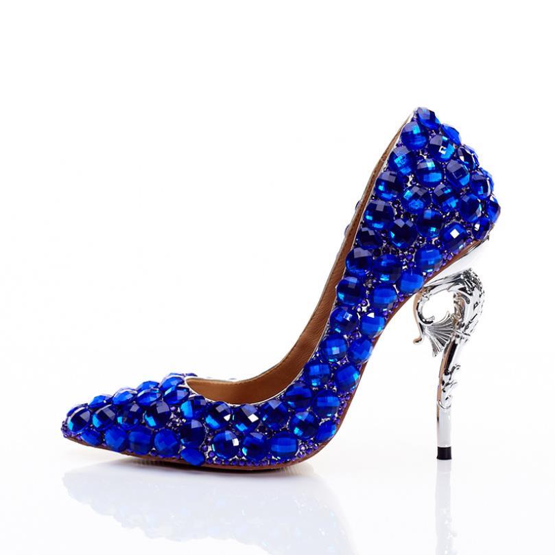 De Zapatos Mujeres Altos Azul Novia La Moda Personalizado Las Tacones Baja Del Cristal Boca Estilete Solo Sexy 1qwdCCx5