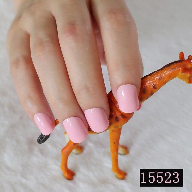 Baby Roze Kunstnagels Mode Platte Nail Art Lady Acryl Candy Vinger