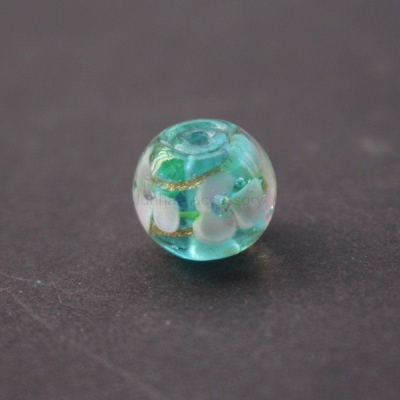 10Pcs 12mm Handmade Fine Glass lampwork beads 3 Flower Beads With Shinning Powder Ocean  ...