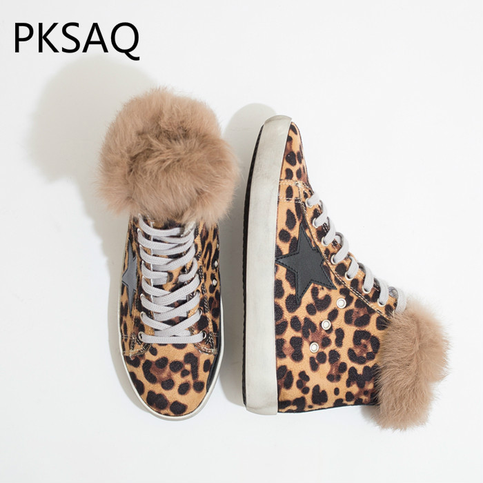 New INS Hot High Women Sneakers Rabbit Hair Warm Star Casual Women Winter Boots Round Toe Fashion Leopard Flat Ladies Shoes fashion tassels ornament leopard pattern flat shoes loafers shoes black leopard pair size 38