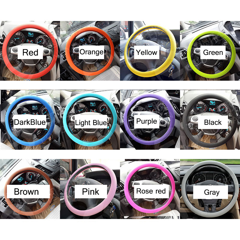 36 40cm universal car steering wheel cover soft silicone auto36 40cm car auto silicone steering wheel glove cover soft multi color universal high quality