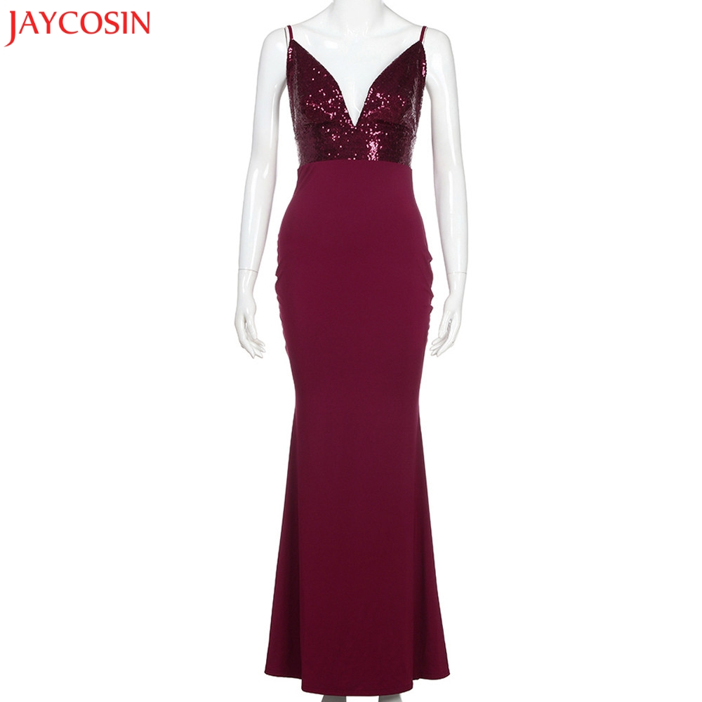 JAYCOSIN 2018 New Arrival Sexy Deep V Floor-Length Long Dress Spaghetti Strap Sequin Dress Elegent Dress Women Party
