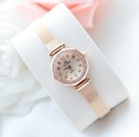Top Elegant Women Rose Watch Fashion Simple Dress Watch High Quality Lady Smart Rhinestone Wristwatch Female