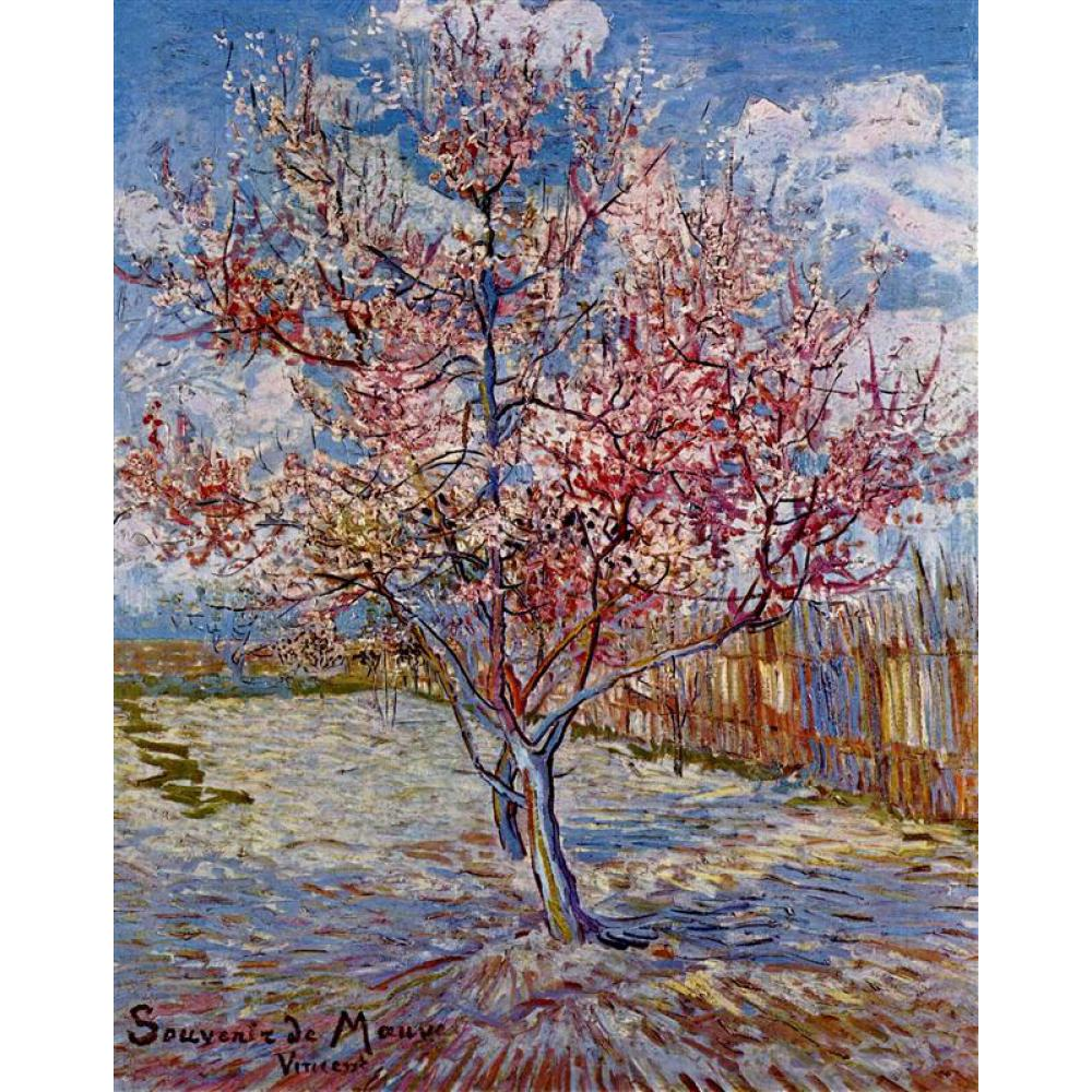 Arbre de pêche en fleurs en mémoire de Mauve par Vincent Van Gogh Reproduction peinture à l'huile toile art fait main de haute qualité