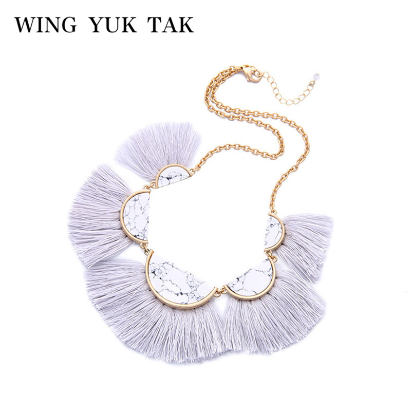 wing yuk tak Hot Sale New White Bohemia Square Stone Tassel Pendant Necklace for Women Statement Bijoux Party Fashion Jewelry