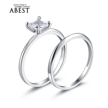 Wholesale 1.0 Carat Princess Cut Ring Created Diamond Solid 925 Sterling Silver 2-Pc Engagement Wedding Bridal Ring Set Jewelry