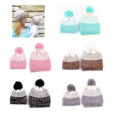 Baby Girl Boy Kids Toddler Parent Child Mom Kid Hat Cap Winter Crochet Knitted Winter Warm Bonnet Beanie baby hats baby toddler kids boy girl knitted crochet rabbit ear beanie winter warm hat cap dropship ma30m30