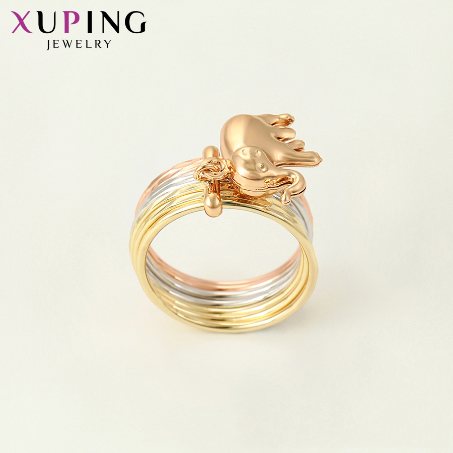 11.11 Deals Xuping Jewelry Exquisite Baby Elephant Pattern Colorful Ring for Women New Years Day Thanksgiving Gift S119.4-15736