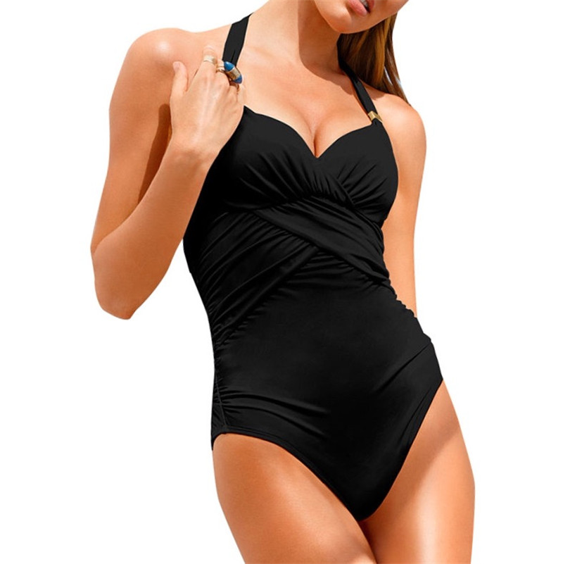 2017 Women Push Up Sexy One Piece Swimwear Black Pinkl Swimsuit Halter Folding Ruched Beach Bathing Suit Backless Bodysuit 3098