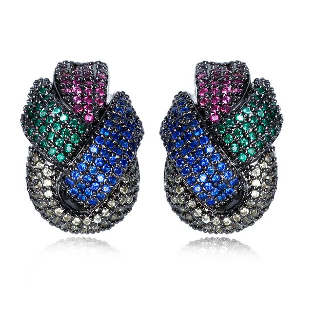 DC1989 Nuevo Diseño Trenzado de Las Mujeres Earings de la Gota de Múltiples Colores CZ Sin Plomo Acabado de Rodio o Chapado En Oro Del Oído Hipoalergénico Pins