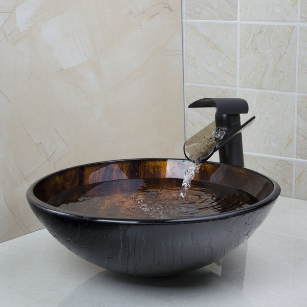 ④Tempered Glass Basin Sink With ( ^ ^)っ Oil Oil Rubbed Bronze Waterfall √ Fau # Wasbak Plug_025130
