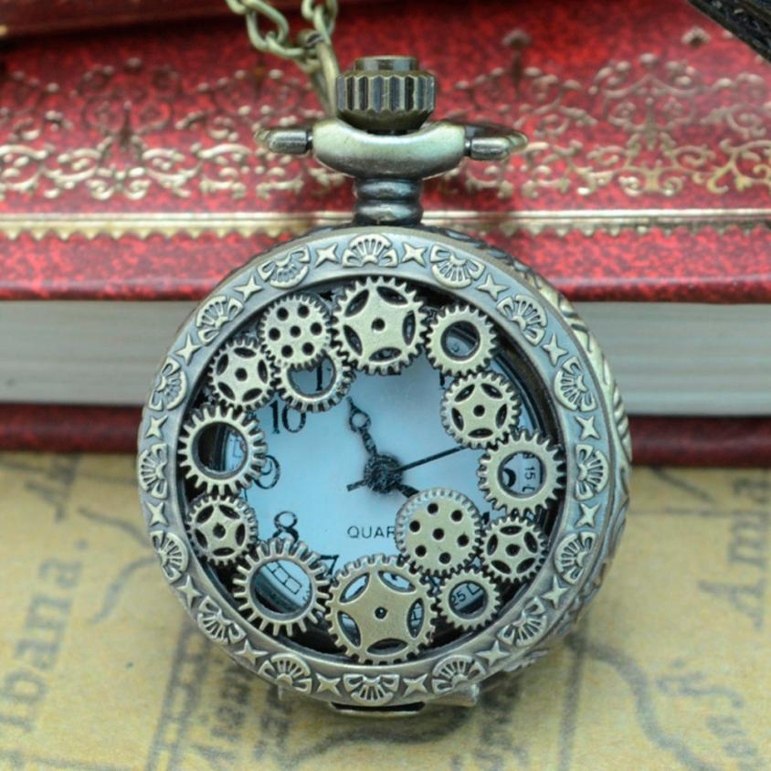 Retro Bronze Design Pocket Watches With Chain Men Steampunk Pendant Necklace Pocket & Watch Gift For Lovers Dropshipping #D