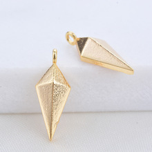 10PCS 7x17MM 24K Gold Color Plated Brass Rhombus Charms Pendants High Quality Diy Jewelry Findings Accessories