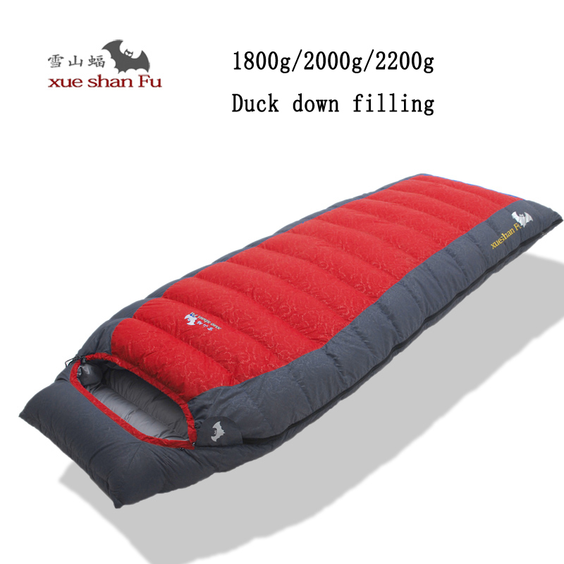 Xueshanfu 1800/2000/2200g White duck down filling New arrival high quality outdoor camping comfortable breathable sleeping bag