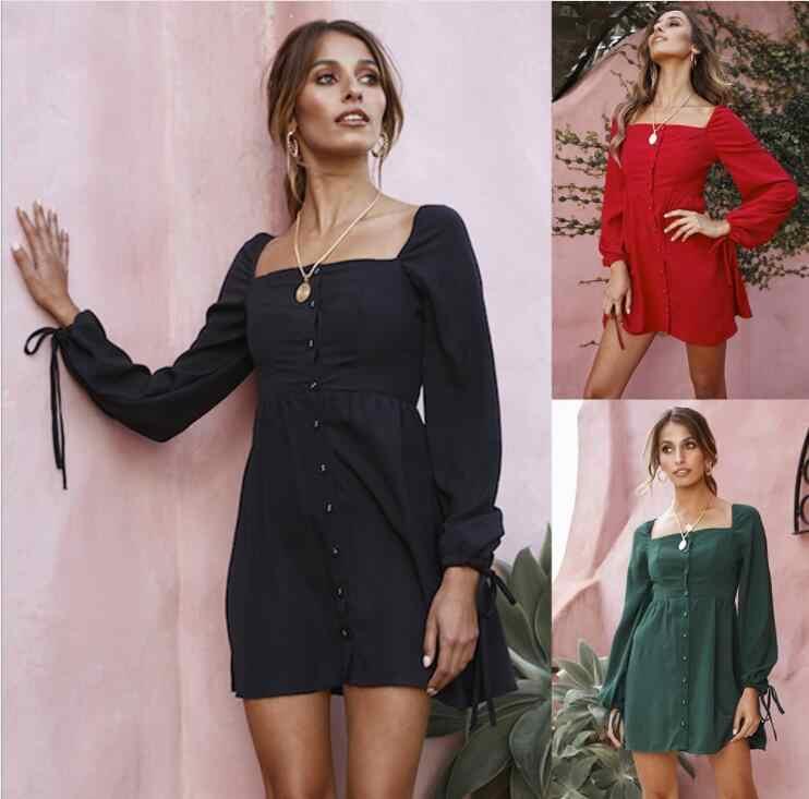Осенне-зимнее Новое Женское Платье на бретелях с квадратным воротником и пряжкой, с длинными рукавами, повседневные праздничные платья, красный, зеленый, черный, Vestido Plus Siz