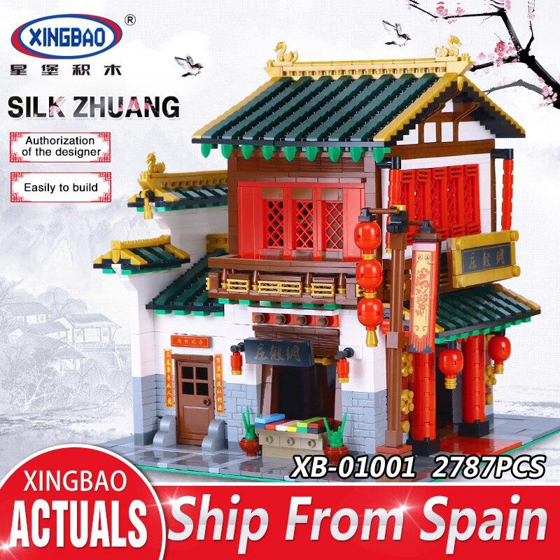 XingBao 01001 2787 pcs Creative Chinois Style Le Chinois Soie et Satin Magasin Ensemble Éducatifs Blocs de Construction Briques Jouets Modèle
