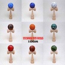 Дешевый бук Kendama для детей, изготовлен из натурального бука, кракле Kendama, металлические заклепки Ken с трещины краски Tama, жонглирование мяч