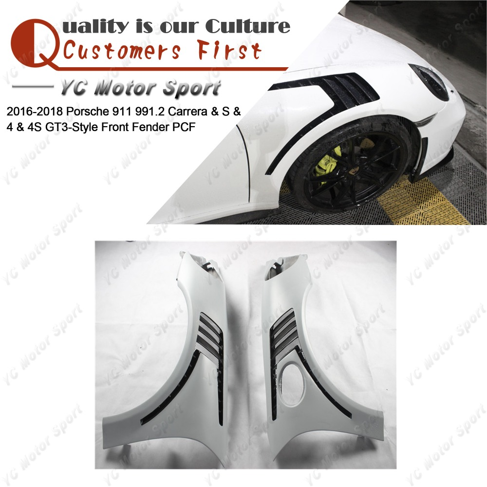 Car Accessories FRP Fiber Glass & Carbon Fiber GT3-Style Front Fender Fit For 2016-2018 911 991.2 Carrera & S & 4 & 4S