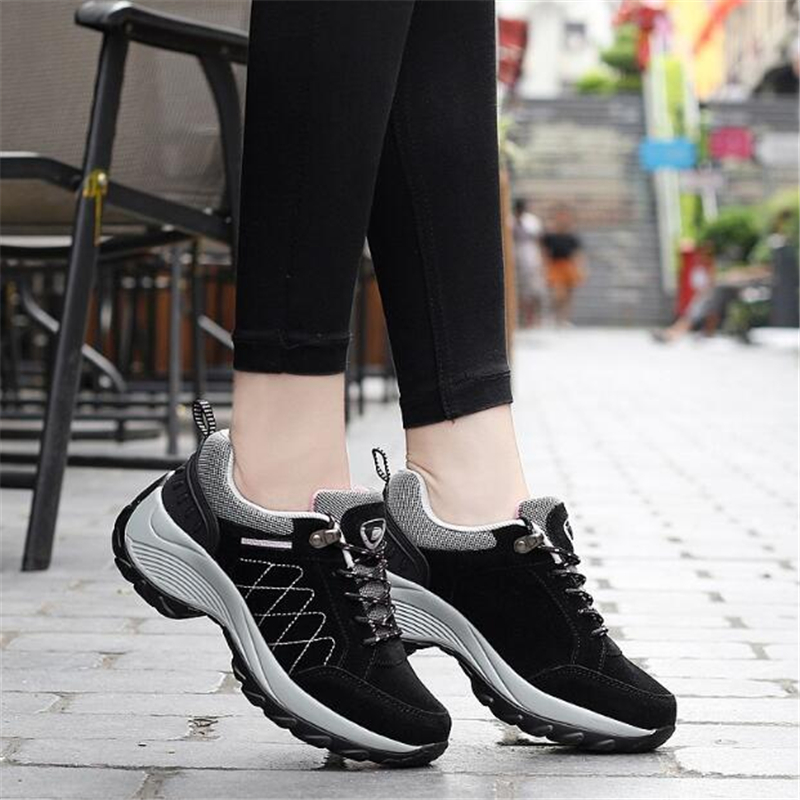 Women outdoor sports shoes pu leather running shoes waterproof women shoes Platform sneakers for Female walking shoes jogging in Running Shoes from Sports Entertainment