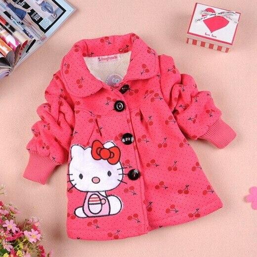 Winter Girls Coat Hello Kitty Cartoon Keeping Warm Heav Thick Kids Jacket Children cotton-padded Outerwear Kids Clothing