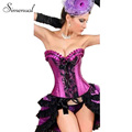 2016 Fashion 6XL plus size corsets and bustiers purple bodybuilding sexy strappy corset ladieswear waist lace splice corselet