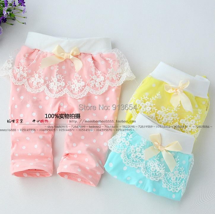 Новые 2015 весна лето брюки детская одежда для девочек для кружева горошек брюки дети шаровары новорожденный ребенок милые брюки