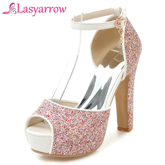 Lasyarrow High Heels Wedding Shoes Ankle Strap Party Summer P Toe Sandals Thick Bottom Women